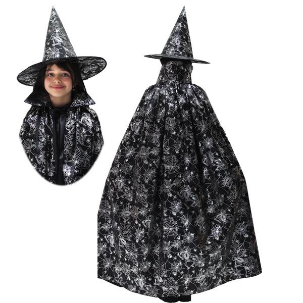Halloween Strega argento Cappello + Mantello bambina be161ca57479